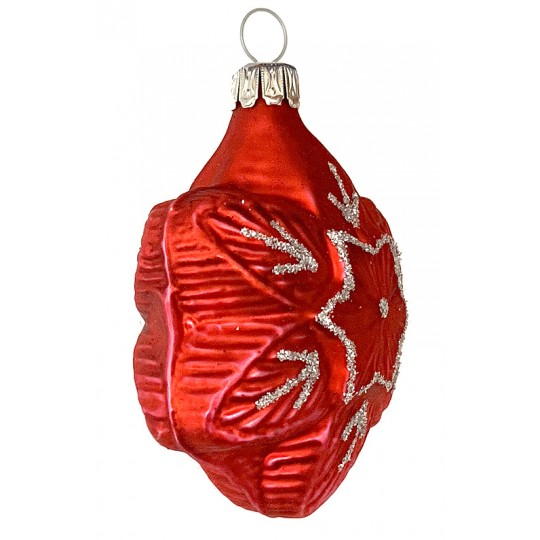 """Matte Red Blown Glass Snowflake Ornament ~ Germany ~ 2-1/4"""" tall"""