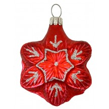 "Matte Red Blown Glass Snowflake Ornament ~ Germany ~ 2-1/4"" tall"