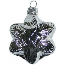 "Shiny Silver Blown Glass Snowflake Ornament ~ Germany ~ 2-1/4"" tall"