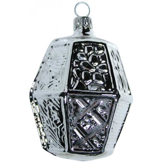 "Large Silver Blown Glass Lantern Ornament ~ Germany ~ 3-1/4"" tall"