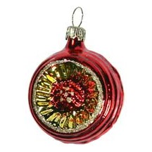 "Shiny Red Blown Glass Sunflower Indent Ornament ~ Germany ~ 2"" tall"