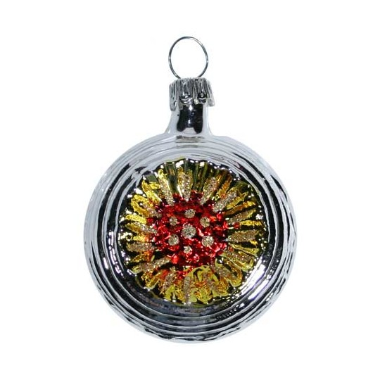 """Shiny Silver Blown Glass Sunflower Indent Ornament ~ Germany ~ 2"""" tall"""