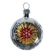 "Shiny Silver Blown Glass Sunflower Indent Ornament ~ Germany ~ 2"" tall"