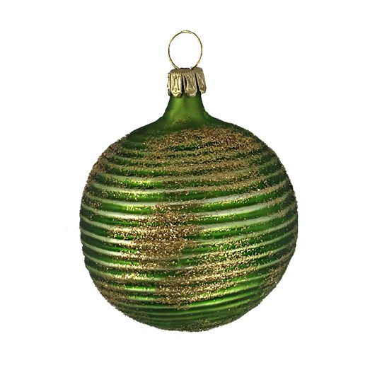 "Matte Green Blown Glass Striped Ball Ornament ~ Germany ~ 2"" tall"