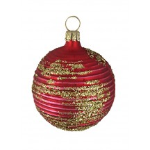 "Matte Red Blown Glass Striped Ball Ornament ~ Germany ~ 2"" tall"