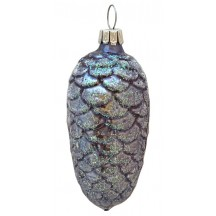 """Blue Pine Cone Blown Glass Ornament ~ Germany ~ 3"""" tall"""