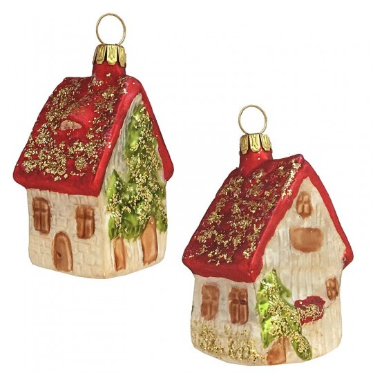 "Red Roof Cottage Glass Ornament ~ Germany ~ 2-1/2"" tall"