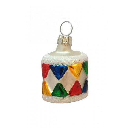 "Small Colorful Drum Ornament ~ Germany ~ 1-1/2"" tall"