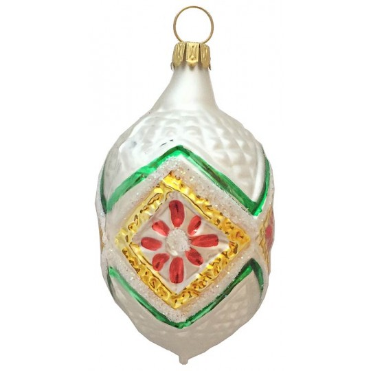 "Matte White and Colorful Fantasy Ornament ~ Germany ~ 3"" tall"