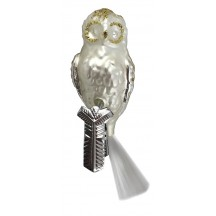 "Matte White and Silver Clipping Owl Ornament ~ Germany ~ 4"" tall"
