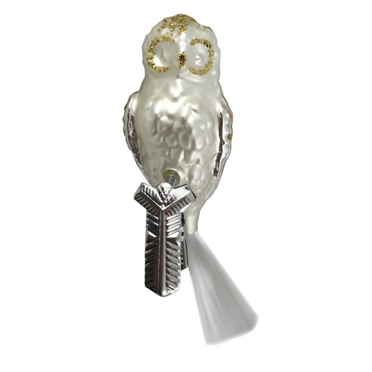 """Matte White and Silver Clipping Owl Ornament ~ Germany ~ 4"""" tall"""