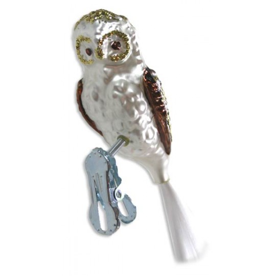 "Matte White Clipping Owl Ornament ~ Germany ~ 4"" tall"