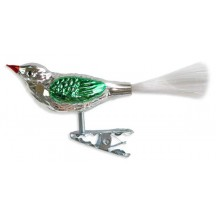 "Silver with Green Clipping Bird Ornament ~ Germany ~ 3-3/4"" long"