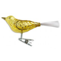 "Clear Yellow Clipping Bird Ornament ~ Germany ~ 4-1/2"" long"