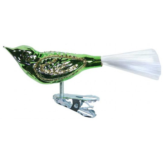 "Shiny Green Clipping Bird Ornament ~ Germany ~ 3-3/4"" long"