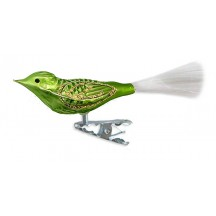 "Matte Green Clipping Bird Ornament ~ Germany ~ 3-3/4"" long"