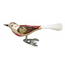 "Matte White Clipping Bird Ornament ~ Germany ~ 4"" long"