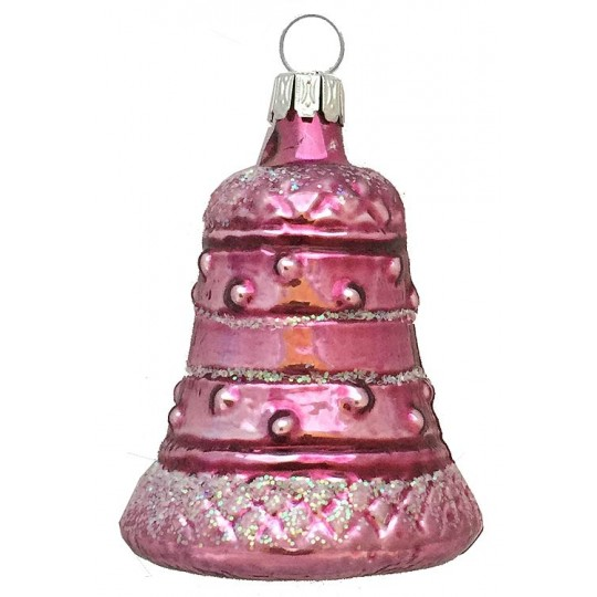 "Pink Blown Glass Bell Ornament ~ Germany ~ 2-1/2"" tall"