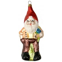 "Large Gnome Blown Glass Ornament ~ Germany ~ 5-1/2"" tall"