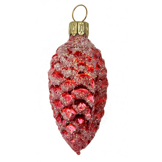 "Red Pine Cone Blown Glass Ornament ~ Germany ~ 3"" tall"