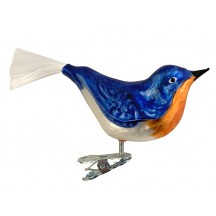"""Large Blue Bird Clipping Ornament ~ Germany ~ 4-1/2"""" long"""
