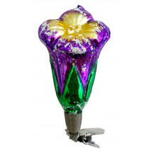 "Purple Blossom on Clip Blown Glass Ornament ~ Germany ~ 3-1/2"" tall"