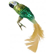 "Green Clipping Parrot Ornament ~ Czech Republic ~ 6"" long"