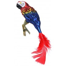 "Red and Blue Clipping Parrot Ornament ~ Czech Republic ~ 6"" long"