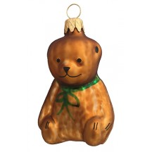 "Petite Brown Bear Blown Glass Ornament ~ Czech Republic ~ 2-1/4"" tall"
