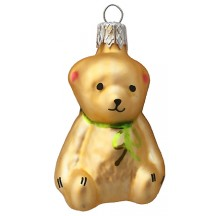 "Petite Golden Bear Blown Glass Ornament ~ Czech Republic ~ 2-1/4"" tall"