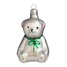 "Petite White Bear Blown Glass Ornament ~ Czech Republic ~ 2-1/4"" tall"