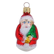 "Petite Classic Red Blown Glass Santa Ornament ~ Czech Repub. ~ 2-1/4"" tall"