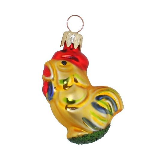 """Petite Rooster Blown Glass Ornament ~ Czech Republic ~ 2"""" tall"""