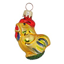"Petite Rooster Blown Glass Ornament ~ Czech Republic ~ 2"" tall"