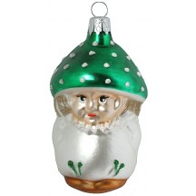 "Blown Glass Green Cap Mushroom Boy Ornament ~ Czech Repub. ~ 3"" long"