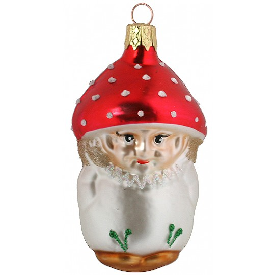 "Blown Glass Red Cap Mushroom Boy Ornament ~ Czech Repub. ~ 3"" long"