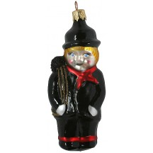"Blown Glass Chimney Sweep Boy Ornament ~ Czech Repub. ~ 4"" long"