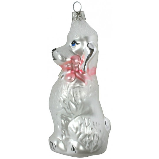 "Poodle Dog Blown Glass Ornament ~ Czech Republic ~ 4"" tall"