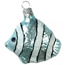 "Blue Tropical Fish Blown Glass Ornament ~ Czech Republic ~ 2"" tall"