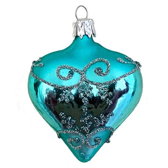 "Aqua Glittered Heart Ornament ~ Czech Republic ~ 2-1/2"" tall"