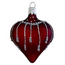 "Burgundy Glittered Heart Ornament ~ Czech Republic ~ 2-1/2"" tall"