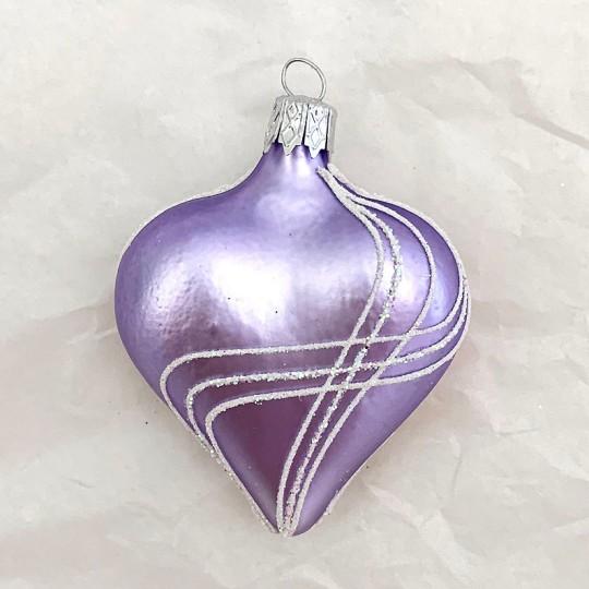 """Lavender Glass Heart Ornament ~ Czech Republic ~ 2-1/2"""" tall"""