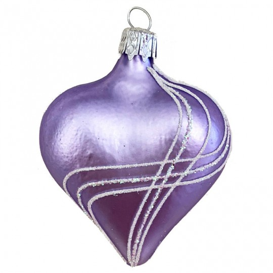 "Lavender Glass Heart Ornament ~ Czech Republic ~ 2-1/2"" tall"