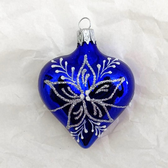 "Blue Floral Heart Ornament ~ Czech Republic ~ 2-1/2"" tall"