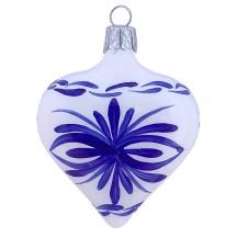 "White Delft Heart Ornament ~ Czech Republic ~ 2-1/2"" tall"