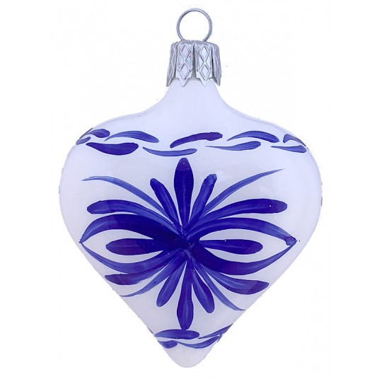"White Delft Heart Ornament ~ Czech Republic ~ 2-1/2"" tall"