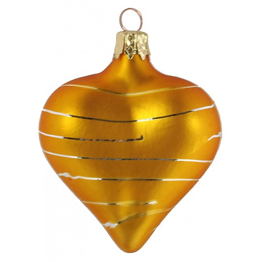 "Golden Yellow Striped Heart Ornament ~ Czech Republic ~ 2-1/2"" tall"