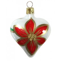 "White Poinsettia Heart Ornament ~ Czech Republic ~ 2-1/2"" tall"