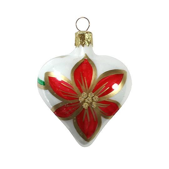 "White Poinsettia Heart Ornament ~ Czech Republic ~ 2-1/2"" tall"
