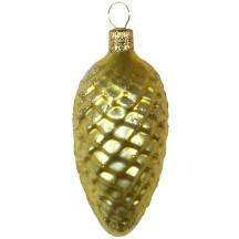 "Matte Yellow Pine Cone Christmas Ornament ~ Czech Republic ~ 3-1/2"" long"